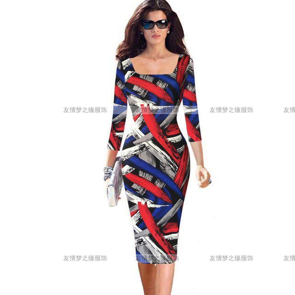 歐洲站歐美新款女裝7分袖彩色條紋塗鴉修身彈力包臀鉛筆連衣裙