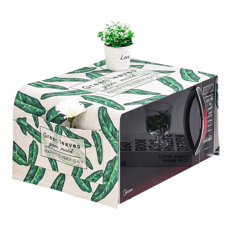 A beautiful bonnet cotton leaves Glanz microwave oven microwave oven leaves green cloth dust cover