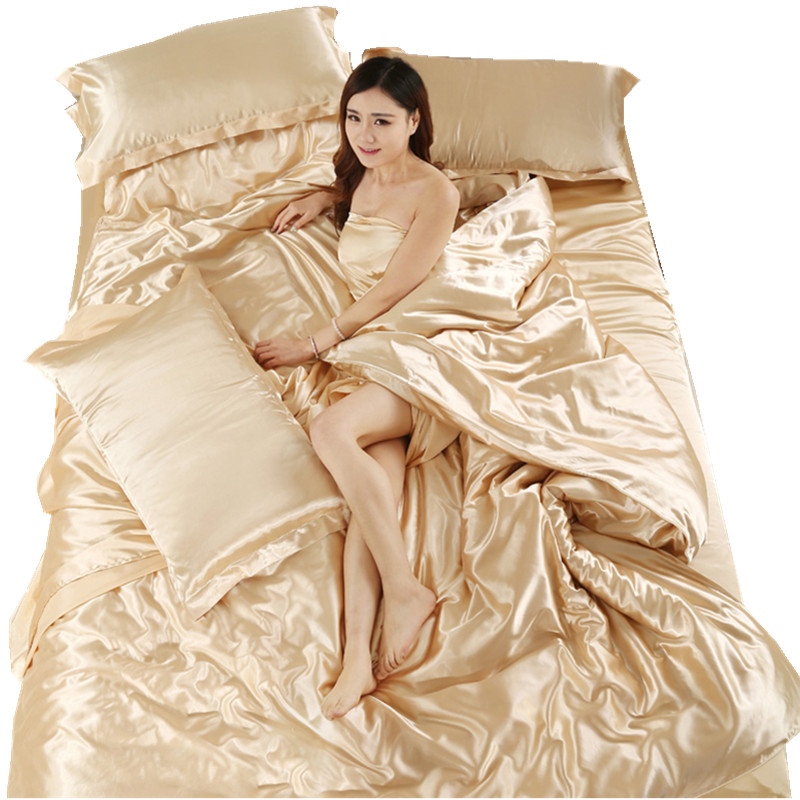 The summer ice silk silk four piece color satin 1.8m bedding set of four 1.2m/1.5 meters