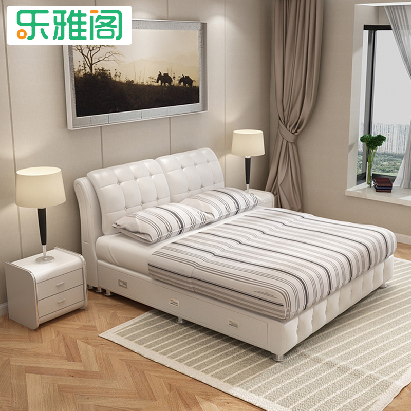Head layer, leather double bed, 1.8 meters leather, soft leather, bedside table, mattress set, bedroom furniture