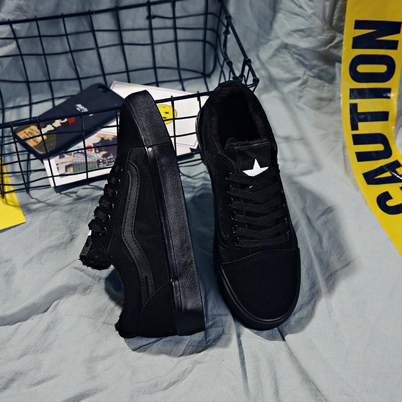 鼕加絨保暖低幫帆布鞋女韓版百搭加棉布鞋全黑學生二棉鞋平底板鞋