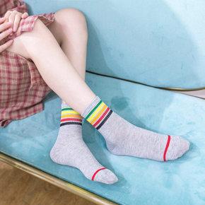 3双袜子女中筒袜韩版学院风秋季韩国日系可爱学生运动潮纯棉防臭