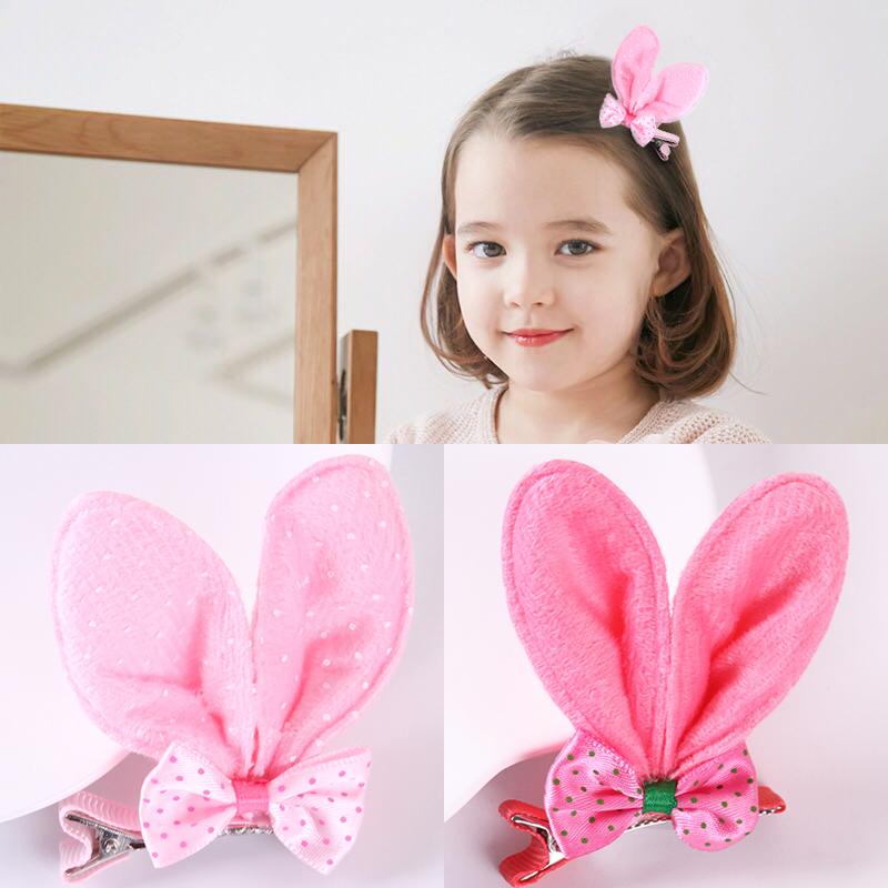 儿童发饰韩国可爱蝴蝶结兔耳朵发夹小女孩宝宝发卡女童头饰品边夹