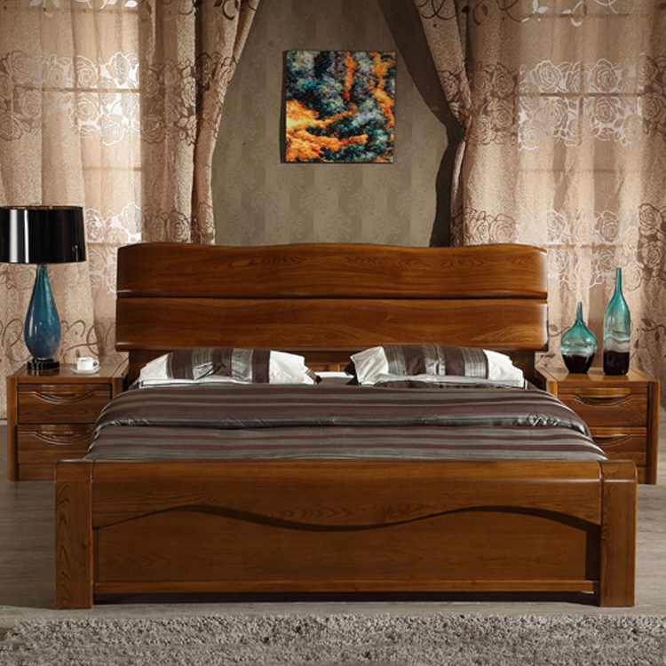 Solid wood bed 1.8 meters double bed solid wood elm modern new Chinese 1.5 master bed high box storage bed