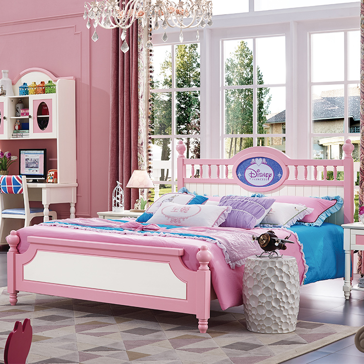 Brafi child bed, girl princess bed, full solid wood pink single bed, 1.5 meter furniture suite combination bed