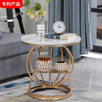 北欧铁艺茶几边几金色客厅圆形沙发置物边桌 大理石茶几 床头小柜