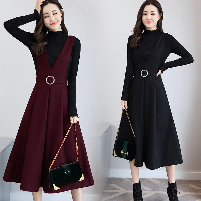 2017秋鼕新款修身顯瘦背帶裙子兩件套長袖打底毛呢連衣裙套裝裙女