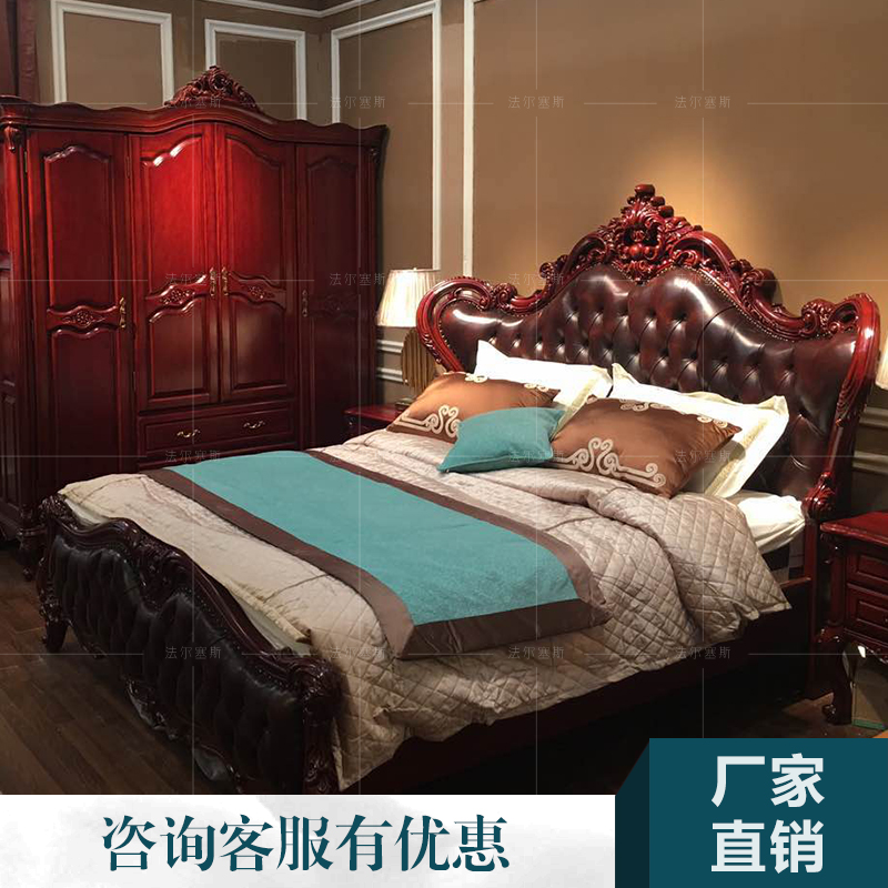 European leather bed double bed simple European American princess bed bed Zhuwo Yazhen furniture art 1.8 silverskin bed bed