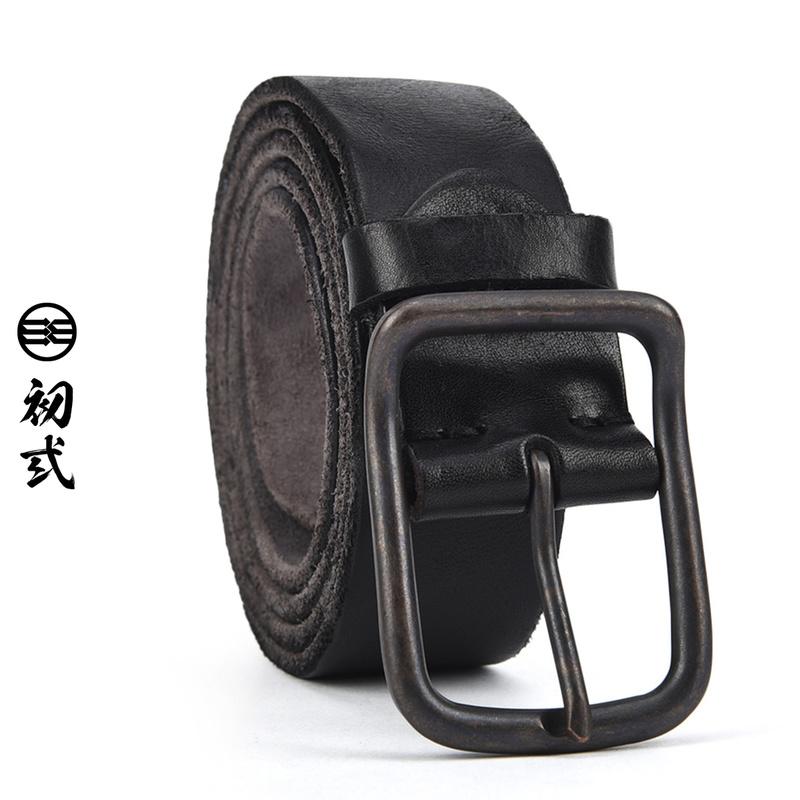 初弎オリジナル中国風潮牌黒ベルト男女シンプル百搭針バックルベルト45020靑年復古
