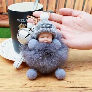 韩国可爱狐狸毛绒小娃娃钥匙扣个性创意男女车钥匙链毛球包挂件饰