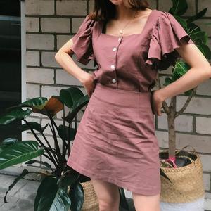 311#鬼马系少女  方领单排扣飞飞袖衬衫+短裙!  2件套装  现货