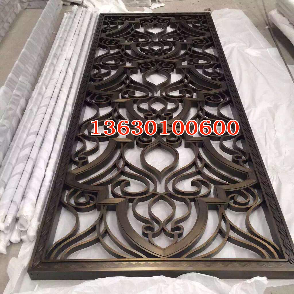 Stainless steel screen partition, porch screen, Chinese modern living room hotel, rose gold hollow new product customization