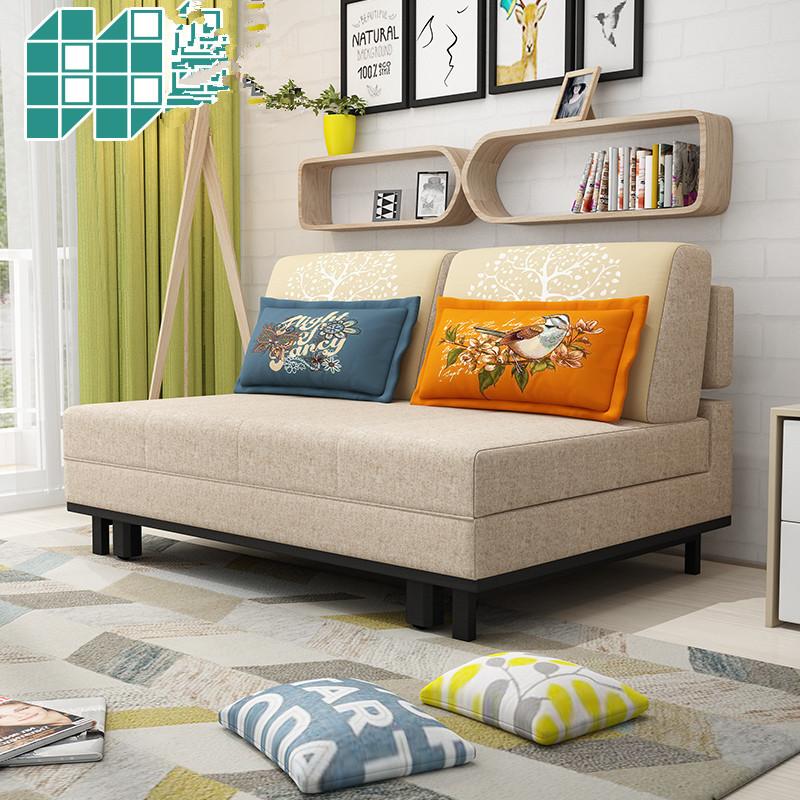 σπρώξε τον καναπέ - κρεβάτι πτυσσόμενου συμπαγούς ξυλείας μικρού μεγέθους διπλής χρήσης πολυλειτουργική διπλό κρεβάτι καναπέ στο σαλόνι 1,5 1,2 m