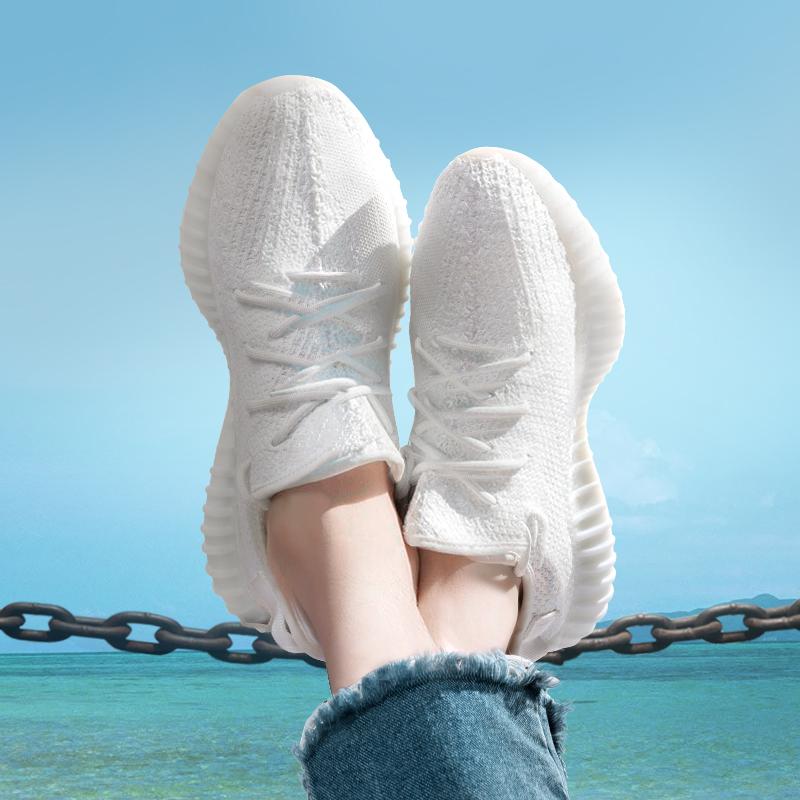 椰子350v2纯白 2017新款侃爷同款网面透气女鞋运动跑步鞋全黑男鞋