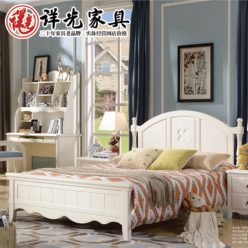 American all solid wood bed for children, 1.5 bed double bed, white, American pure pure wood, simple carved furniture bed