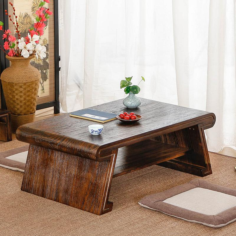 Small tea table table on the Kang Table Bed tatami wood Paulownia Ancient Chinese Literature Search Mini Piaochuang platform