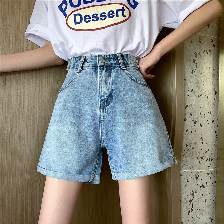 实拍实价2020新款网红同款高腰显瘦宽松卷边直筒牛仔短裤