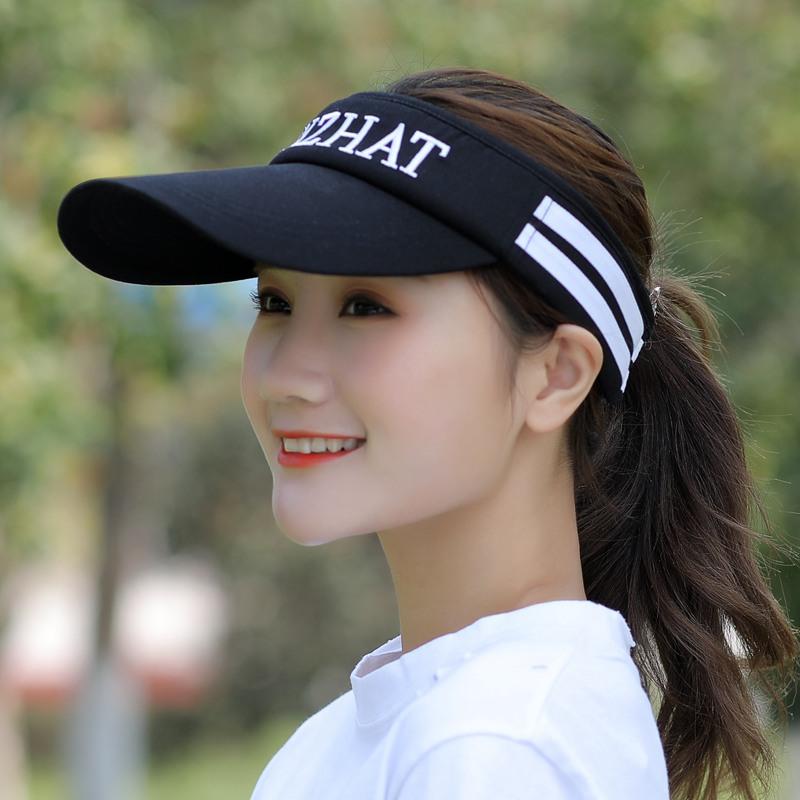 黑色白圈可調節帽子女夏天空頂帽男無頂帽跑步太陽帽戶外網球帽運動帽防曬遮陽帽