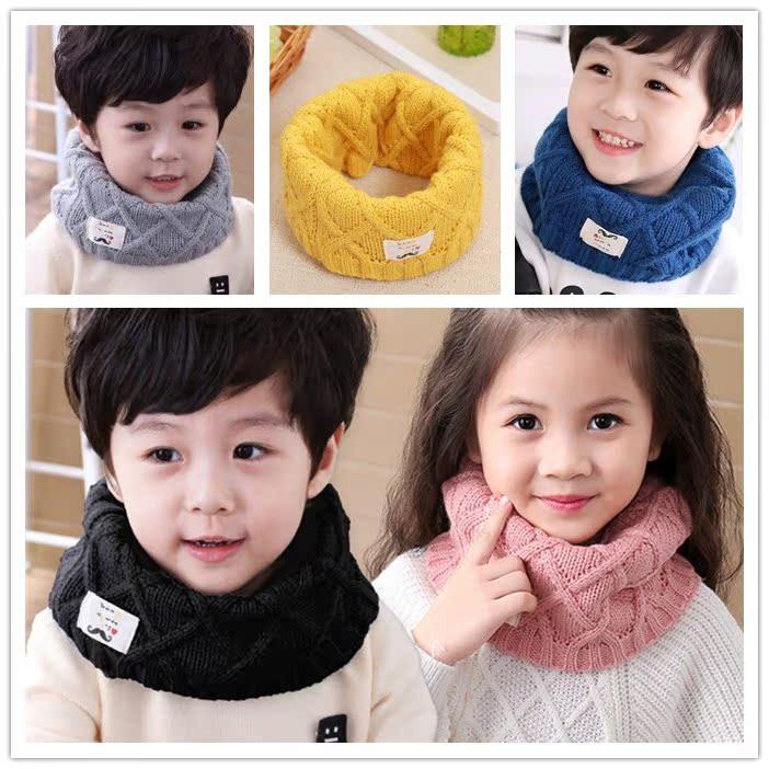 可爱韩版小孩脖套韩国宝宝围脖男童女童冬季保暖毛线针织儿童围巾