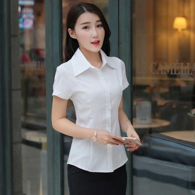 韩版修身女衬衫女短袖修身款职业装女装衬衣大码女白色衬衣夏季