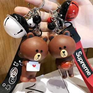 韩国卡通汽车钥匙扣链圈布朗熊可妮兔子铃铛挂件创意小猪佩奇礼物