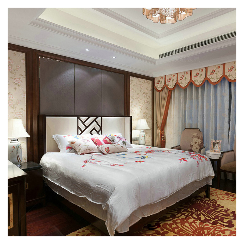 The new Chinese modern minimalist Zen wood double bedroom bed Hotel Villa custom furniture bed