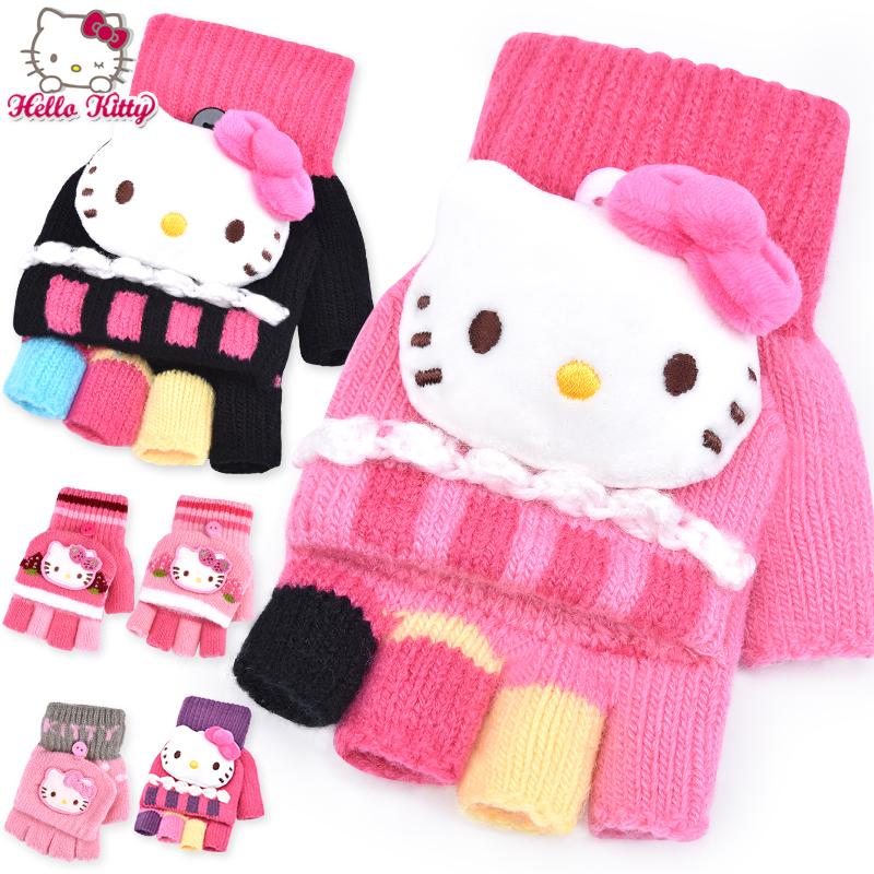 女童手套冬hello kitty儿童手套可爱五指秋冬女孩保暖半指小学生