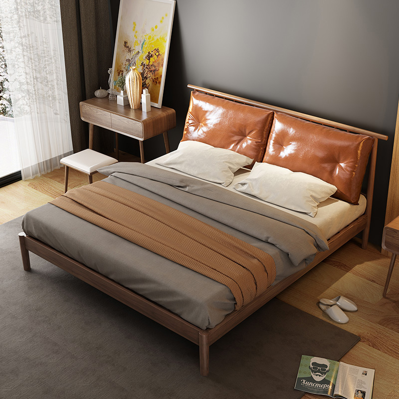 Nordic solid wood bed, 1.5 meters single bed, small apartment, 1.8 meters double bed, master bedroom, modern simple bed bedroom furniture
