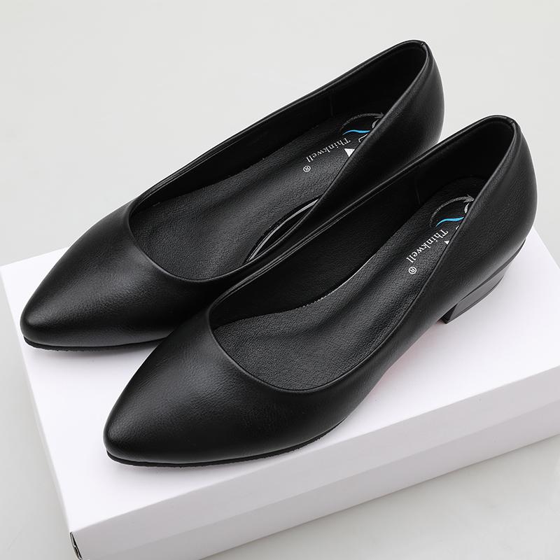 工作鞋女黑色平底尖頭