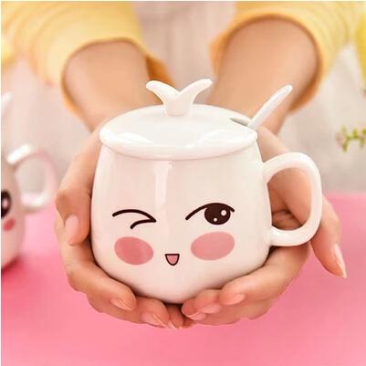 配蓋子和勺子(表情隨機發哦)陶瓷杯帶蓋帶勺 馬克杯 水杯茶杯 可愛表情創意情侶杯子 牛奶杯