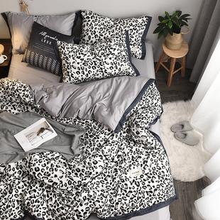 豹纹格子四件套北欧床上纯棉全棉网红床单床笠1.8m被罩宿舍三件套