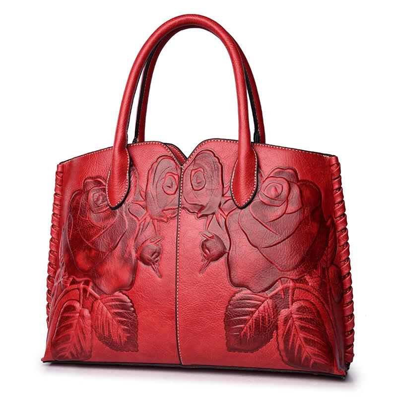 紅色  贈送卡包香包天天特價春新款大容量百搭大氣時尚單肩斜挎復古民族風壓花貝殼包