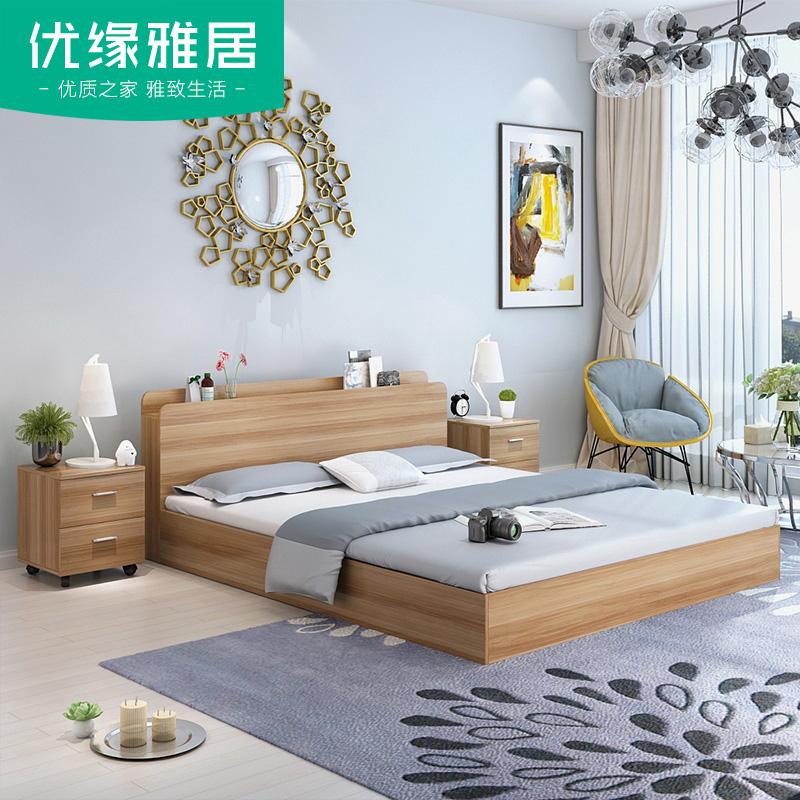La simplicidad de la moderna tipo cama doble caja de 1,8 m de 1,5 metros de altura en la cama de noche de la combinación de un colchón de almacenamiento