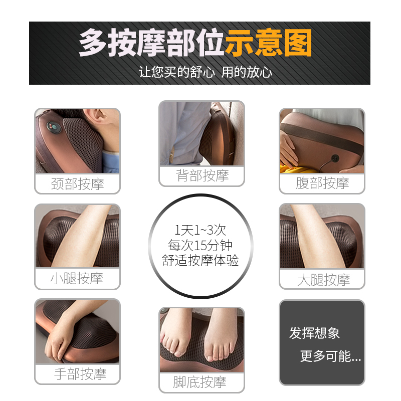 Multifunctional cervical massage device, cervical, waist, back body electric vehicle massage pillow, home cushion