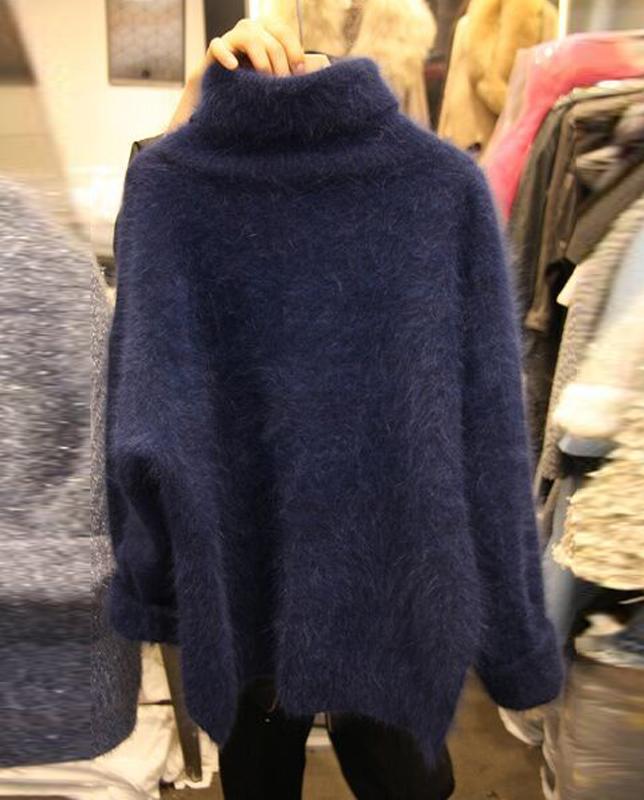 大码女装秋冬韩版高领貂绒宽松胖mm针织衫加厚百搭套头毛衣200斤