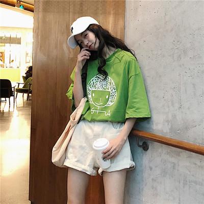 实拍~新款短袖t恤女中长款夏装宽松百搭小女孩印花打底衫上衣