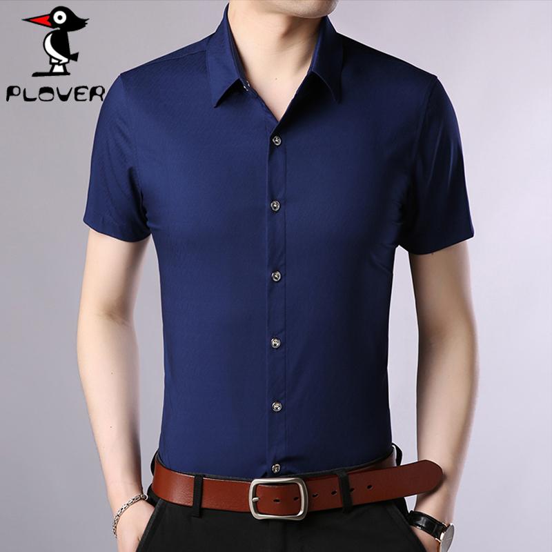 Plover短袖衬衫男衬衣2019夏季新款韩版男士潮男休闲修身藏青色