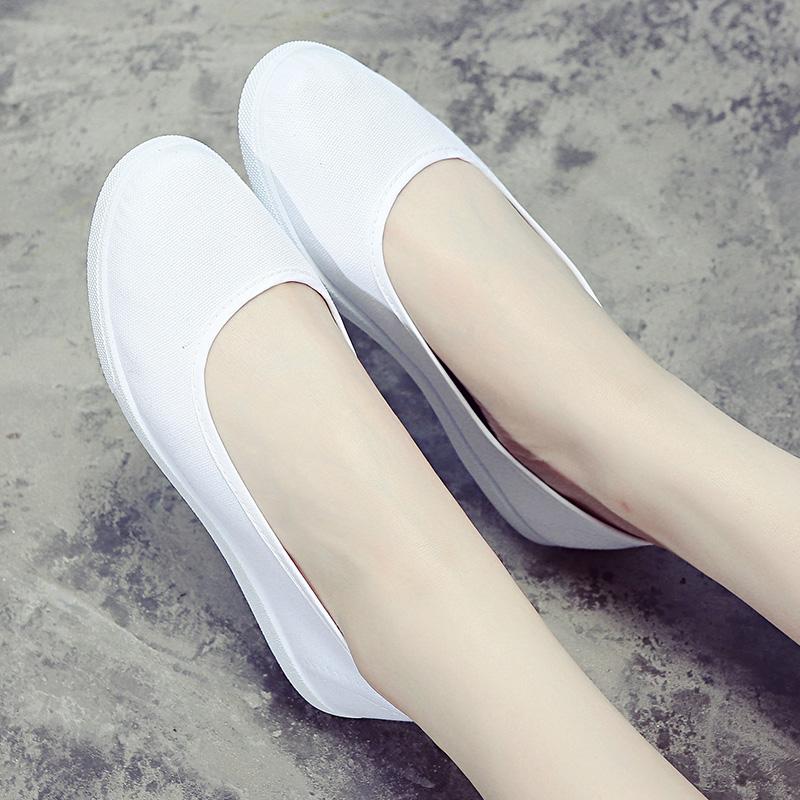 护士鞋女白色平底2017秋季新款医院工作美容鞋老北京布鞋女小白鞋