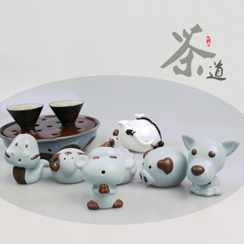 鼠瓷鼠牛虎兔龍蛇馬羊猴雞狗豬q版汝窯12十二生肖精品茶寵擺件