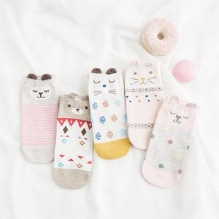 5双装袜子女短袜纯棉薄款浅口隐形船袜夏季韩国可爱低帮硅胶防滑