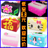 DIY Beaded paper towel box package Handmade Beaded box acrylic beads material weaving crafts