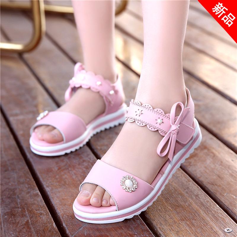 2020新款女童公主鞋软底凉鞋