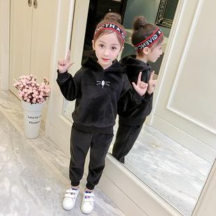 女童2018冬装新款中小童女孩洋气套装加厚宝宝时髦两件套加绒衣服