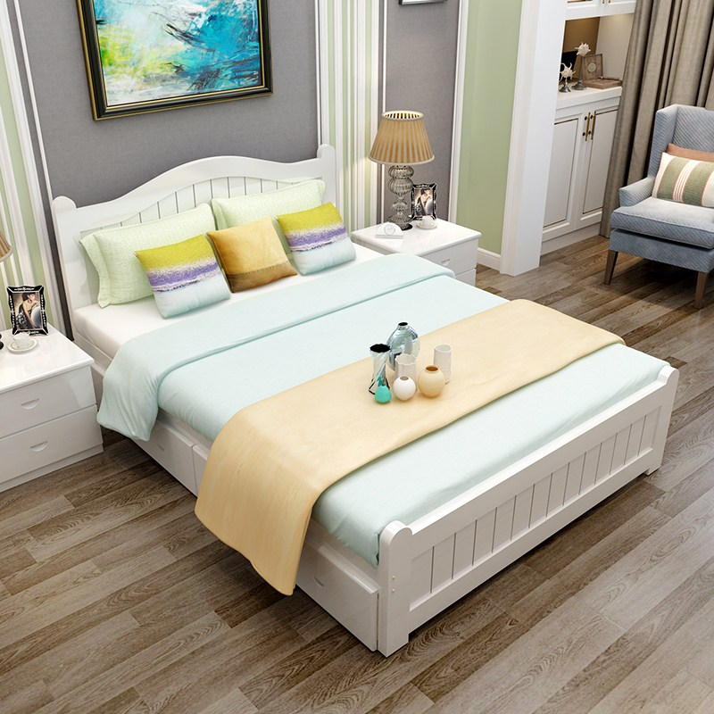 Solid oak beds, Nordic beds, 1.5m1.8 meters double bed, soft bed, simple modern Chinese furniture master bedroom bed