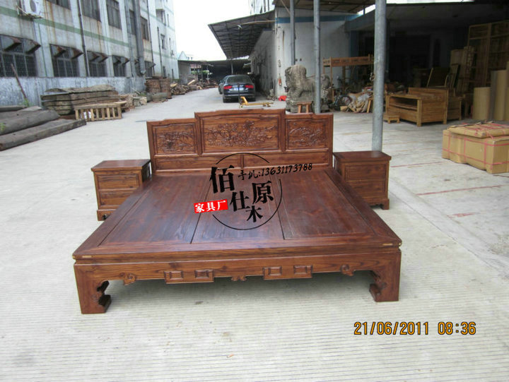 Solid wood flat double bed, Ming and Qing Dynasties classical carved marriage bed, bedroom furniture customized 1.5/1.8 bed