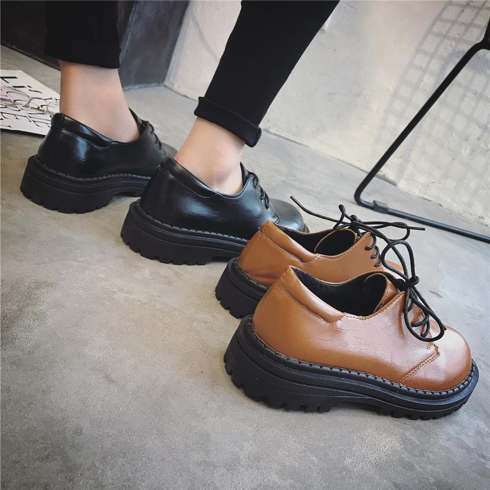 韩国ulzzang原宿复古大头小皮鞋女学院风黑色百搭韩版学生单鞋女