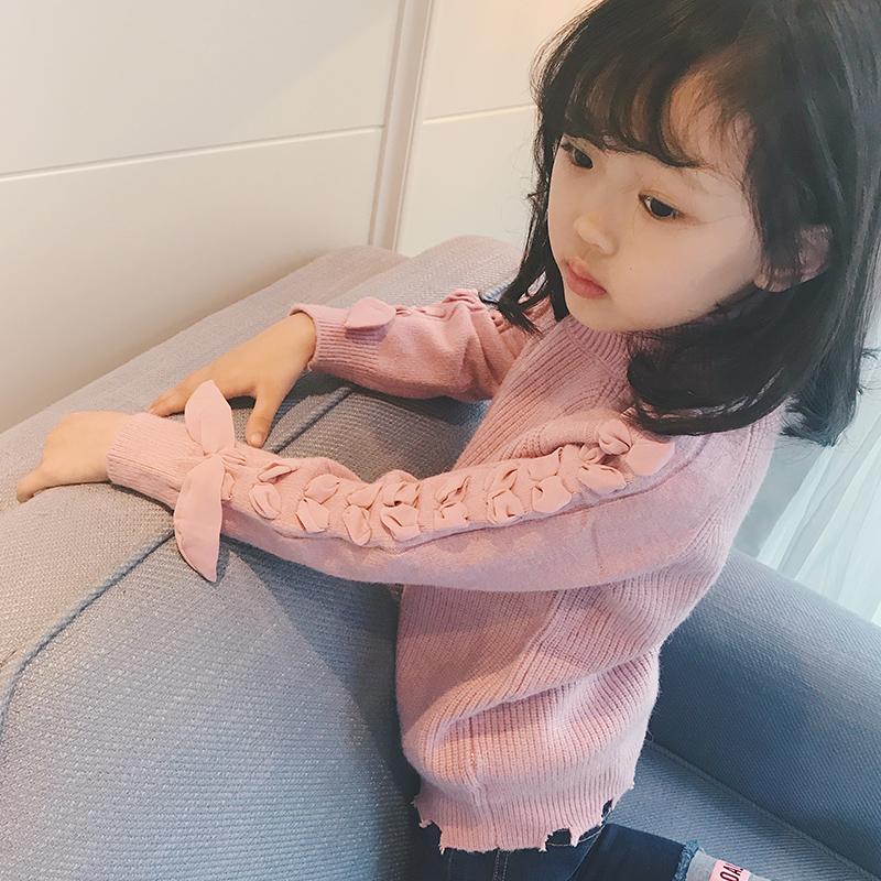 女童毛衣套头打底衫 秋冬2017新款童装韩版儿童毛衣半高领针织衫