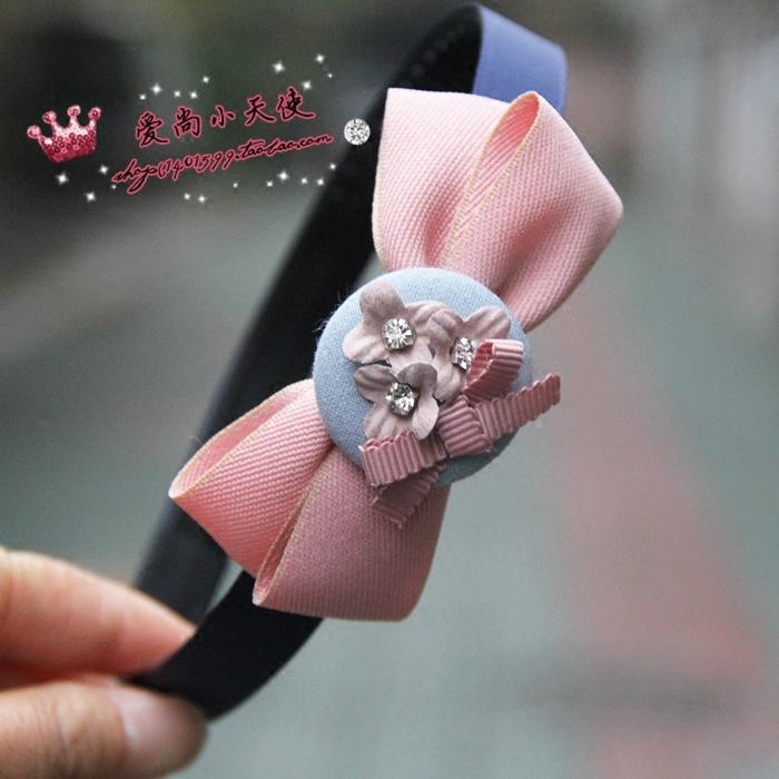Original version coréenne les cheveux des bijoux faits à la main le noeud papillon avec le bébé de dents de la barrette de clips d'élèves des écoles primaires et secondaires