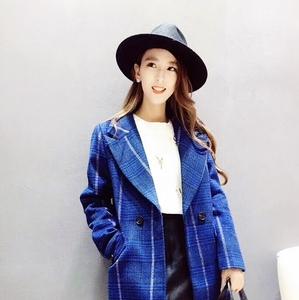 秋冬新款毛呢大衣女時尚百搭西裝領格紋修身長袖中長款風衣外套