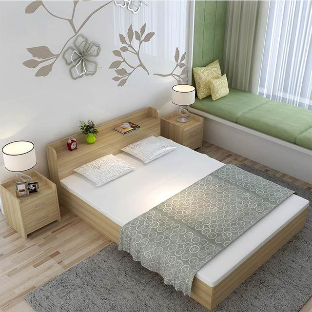 Simple modern plate double bed high box wooden bed tatami storage bed 1.5 meters 1.8 meters Zhuwo shipping